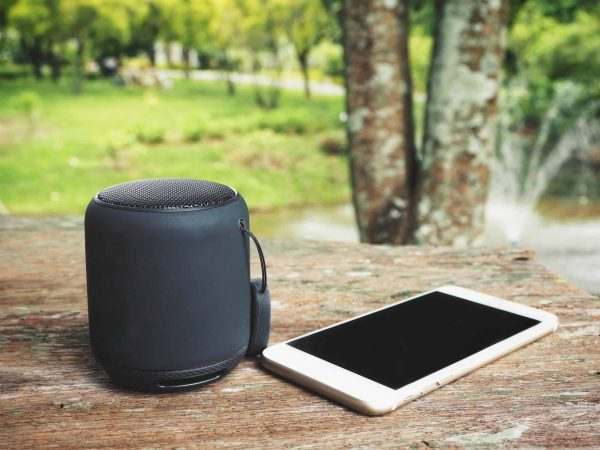 Bluetooth speaker with smart phone in the garden