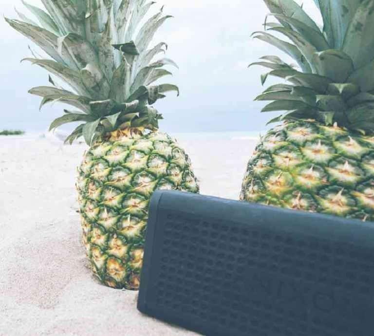 Lautsprecher und Ananas im Sand
