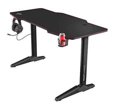 Trust XL Gaming Tisch (140 x 66 cm) GXT 1175 Imperius - Computer Tisch in Desk-Größe, Headset und Becherhalter, Kabelmanagementsystem, PC Schreibtisch - Schwarz