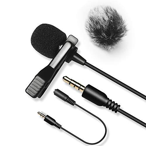 6M Lavalier Mikrofon mit 1 Windschutzscheibe,Nicama LVM3 Kondensator Freisprech Ansteck Revers Mikrofon für Smartphone Canon Nikon Sony Kamera DSLR Camcorder PC Youtube Podcast