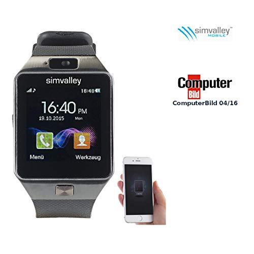 Simvalley Mobile Uhr mit SIM Karte: Handy-Uhr & Smartwatch PW-430.mp mit Bluetooth 3.0 und Fotokamera (Handyuhr mit SIM Karte)
