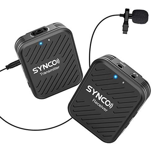 SYNCO Lavalier Funkmikrofon G1(A1), 2,4GHz Kabellos Ansteckmikrofon System, Wireless Microphone Mics bis zu 70m, Audioüberwachung 1 Transmitter 1 Empfänger für Kamera Smartphone Laptop DSLR Camcorder