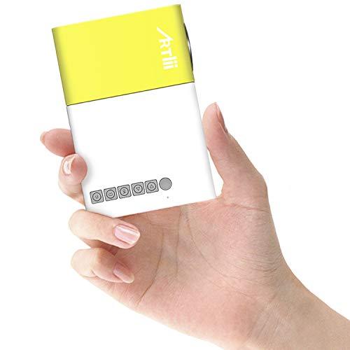 Mini Beamer - Artlii Mini Projektor wie EIN Smartphone, Klein Beamer für Kinder Ferien Unterhaltung, Kompatibel mit Laptop, Android Smartphone, iPhone -Gelb