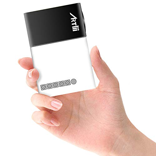 Mini Beamer - Artlii Mini Projektor wie EIN Smartphone, Klein Beamer als Geschenk für Kinder, Support-Bilder, Cartoons und andere Kinderaktivitäten -Schwarz