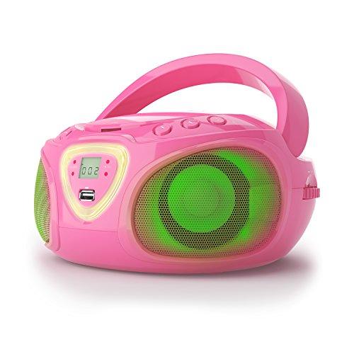auna Roadie CD-Player - tragbare Stereo CD-Radio Boombox, USB, MP3, UKW Radiotuner, Bluetooth, 2 x 1,5 Watt RMS, Netz & Batterie, rosa