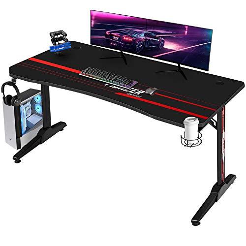 Devoko Gaiming Tisch Gaming Schreibtisch Gamer Computertisch Ergonomischer PC Schreibtisch mit Getränkehalter und Kopfhörerhalter T-förmiger (Schwarz, 140 x 60 cm)