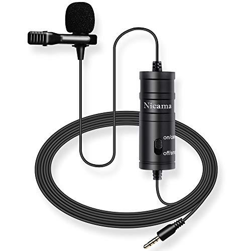 6M Lavalier Mikrofon ,Nicama LVM1 Kondensator Freisprech Ansteck Revers Mikrofon für Smartphones Canon Nikon Sony DSLR Camcorder Kameras PC Youtube Podcast