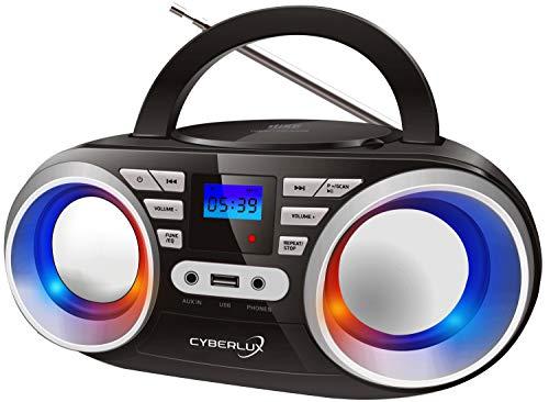 Tragbarer CD-Player | LED-Discolichter | Boombox | CD/CD-R | USB | FM Radio | AUX-In | Kopfhöreranschluss | 20 Speicherplätze | Kinder Radio | CD-Radio | Kompaktanlage (Black/Sunny Silver)