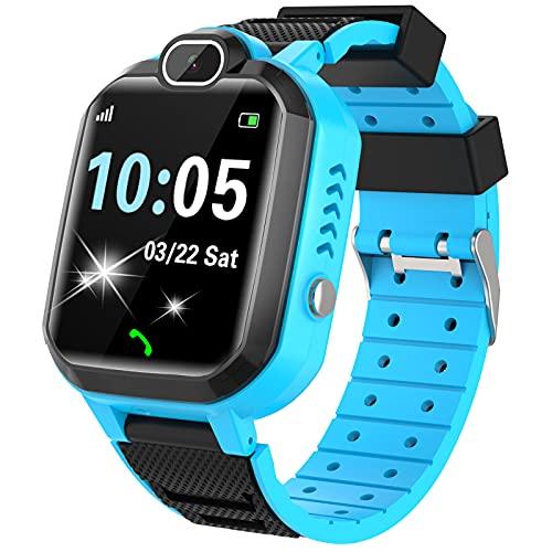 Kinder SmartWatch - MP3 Musik 7 Spiele Kids Smart Watch HD Touchscreen SOS Voice Chat Scherzt Intelligente Uhr mit Telefon Kamera Wecker Recorder Rechner Geschenk für Kinder Junge Mädchen (Blau)