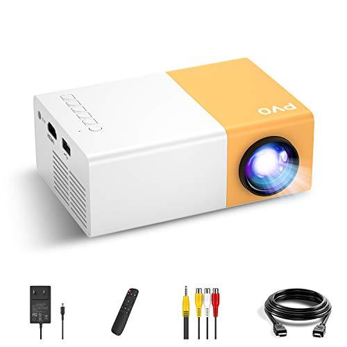 Mini Beamer, PVO Beamer Klein für Zeichentrickfilme, Geschenke für Kinder, LED Handy Video-Beamer Full HD für Heimkino, für Draußen, Film Projektor mit HDMI USB TV AV-Schnittstellen und Fernbedienung