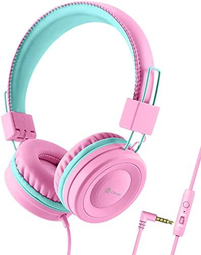 Kopfhörer Kinder, Kabel Kopfhörer für Mädchen, Verstellbares Stirnband, Stereo Sound, Faltbare, Entwirrte Drähte, 3,5 mm Aux Jack, 85/94 dB Volume Limited, Kinder Kopfhörer auf Ohr