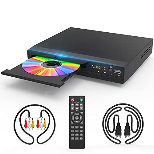 DVD-Player mit HDMI-AV-Ausgang, DVD-Player für TV, HD 1080P-Upscaling mit Koaxialausgang/HDMI-AV-Kabel/Fernbedienung/USB-Eingang, Regionsfreie