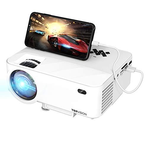 TOPVISION Mini Beamer mit Screen Mirroring, 7000 Lumen Heimkino Beamer Full HD 1080P Video Beamer mit 240