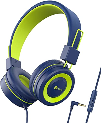 Kopfhörer Kinder, iClever Kopfhörer für Kinder, Verstellbares Stirnband, Stereo Sound, Faltbare, entwirrte Drähte, 3,5 mm Aux Jack, 85/94 dB Volume Limited, KinderKopfhörer auf Ohr
