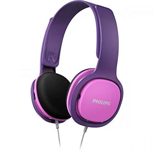 Philips Kinderkopfhörer SHK2000PK/00 Kinderkopfhörer On Ear (Lautstärkebegrenzung 85 db, Ergonomischer Bügel, 32-mm-Neodym-Lautsprechertreiber) Pink/Lila