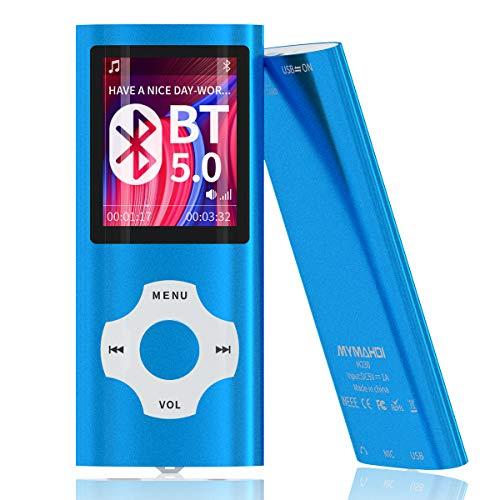 MYMAHDI Bluetooth 5.0 MP3/MP4-Player mit 32 GB Speicherkarte, 1,8 Zoll LCD-Bildschirm, unterstützt bis zu 128 GB, Video/Sprachaufnahme/FM-Radio/E-Book-Reader/Fotobetrachter, Dunkelblau